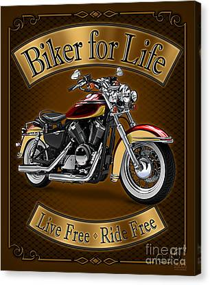 Biker For Life Canvas Print by JQ Licensing