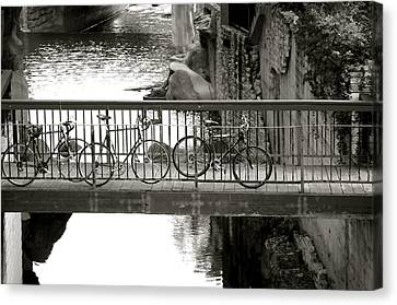 Bikes Over Waller Creek Canvas Print by Kristina Deane