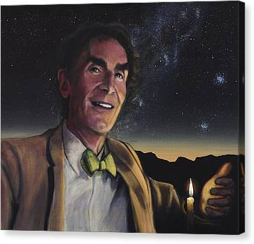 Bill Nye - A Candle In The Dark Canvas Print by Simon Kregar