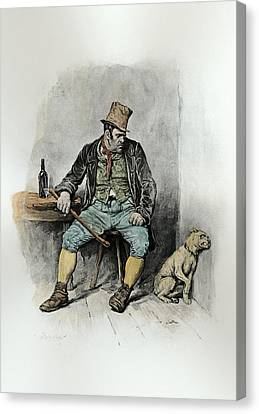 Bill Sykes And His Dog, From Charles Canvas Print by Frederick Barnard
