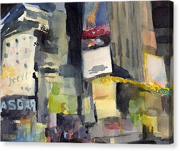 Billboards Times Square At Night Watercolor Painting Of Nyc Canvas Print by Beverly Brown Prints