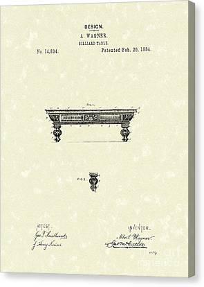 Billiard Table 1884 Patent Art Canvas Print by Prior Art Design