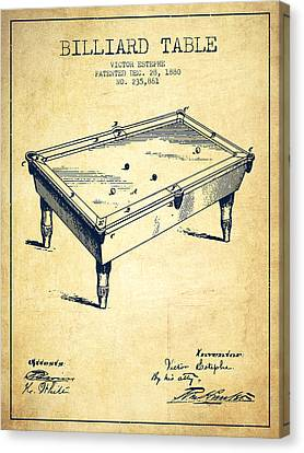 Billiard Table Patent From 1880 - Vintage Canvas Print by Aged Pixel