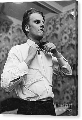 Billy Graham Jr. Preparing To Speak In Boston 1950 Canvas Print by The Phillip Harrington Collection