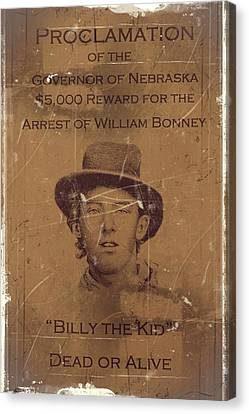Billy The Kid Wanted Poster Canvas Print by Movie Poster Prints