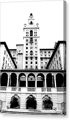 Biltmore Hotel Miami Coral Gables Florida Exterior Colonnade And Tower Bw Conte Crayon Digital Art Canvas Print by Shawn O'Brien