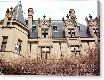 Biltmore Mansion Estate Architectural Windows And Rooftop Side View  Canvas Print by Kathy Fornal