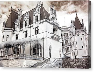 Biltmore Mansion Estate Asheville North Carolina - Surreal Biltmore Estate Mansion  Canvas Print by Kathy Fornal