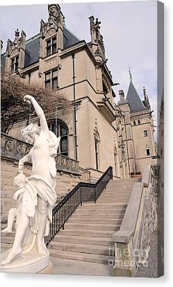 Biltmore Mansion Estate Italian Architecture And Sculptures Statues Canvas Print by Kathy Fornal