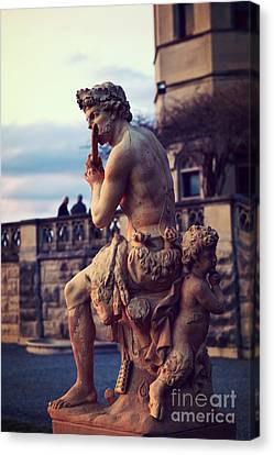Biltmore Mansion Estate Italian Sculpture Art - Biltmore Statues Italian Archictecture Canvas Print by Kathy Fornal