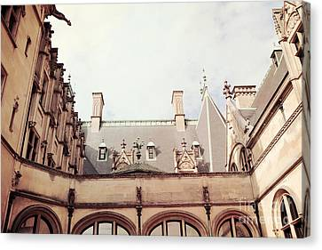 Biltmore Mansion Estate Rooftop Architecture - Italian Ornate Facade And Gargoyles Canvas Print by Kathy Fornal