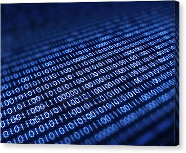 Binary Code On Pixellated Screen Canvas Print by Johan Swanepoel