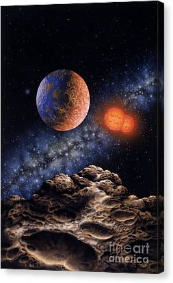 Binary Red Dwarf Star System Canvas Print by Lynette Cook