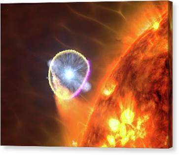 Binary Star System Nova Canvas Print by Nasa's Goddard Space Flight Center/s. Wiessinger