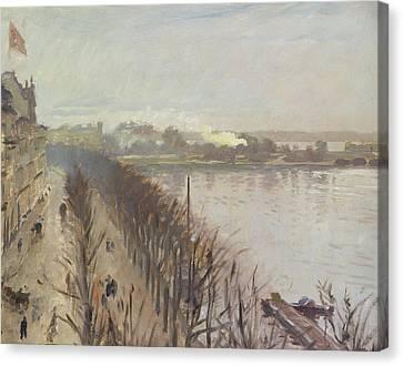 Binnenalster And Neuer Junfernstieg In Hamburg Canvas Print by Laurits Regner Tuxen