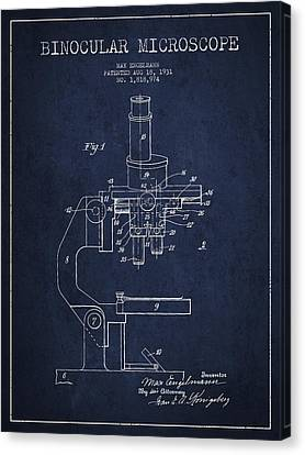 Binocular Microscope Patent Drawing From 1931 - Navy Blue Canvas Print by Aged Pixel