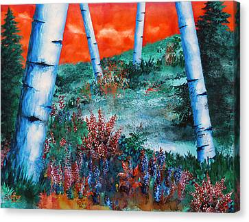 Birch Trees At Sunset Canvas Print by Curtiss Shaffer