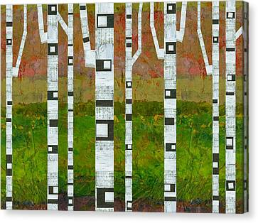 Birch Trees With Green Grass Canvas Print by Michelle Calkins