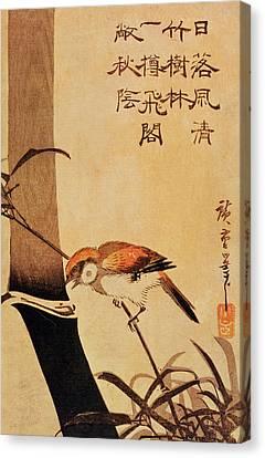 Bird And Bamboo Canvas Print by Ando or Utagawa Hiroshige
