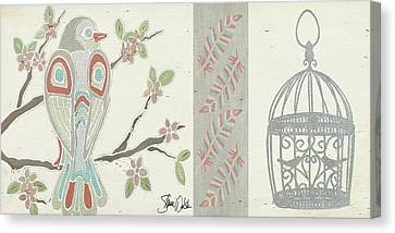 Bird And Cage One Canvas Print by Shanni Welsh