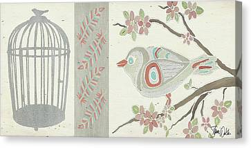 Bird And Cage Two Canvas Print by Shanni Welsh