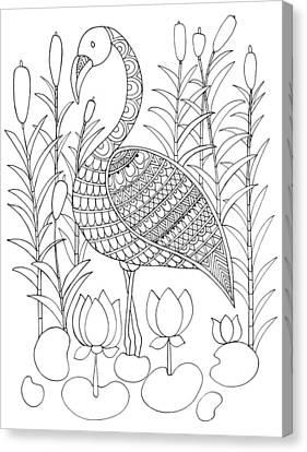 Bird Flamingo Canvas Print by Neeti Goswami