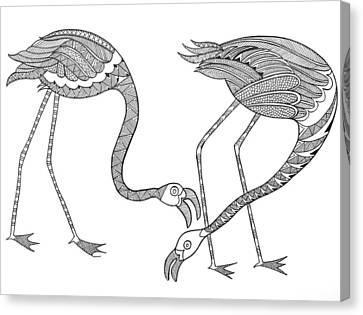 Bird Flamingos 2 Canvas Print by Neeti Goswami