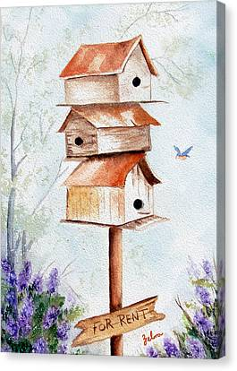 Bird House Hotel Canvas Print by Zelma Hensel