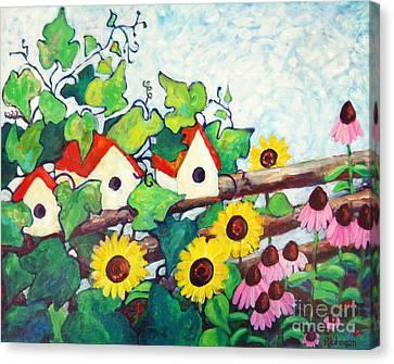 Bird Houses Canvas Print by Peggy Johnson