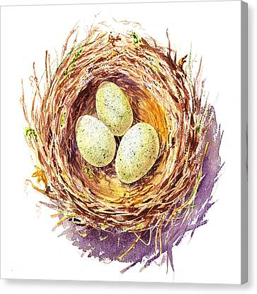 Bird Nest A Happy Trio Canvas Print by Irina Sztukowski