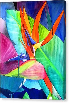 Bird Of Paradise Strelitzia Canvas Print by Sacha Grossel