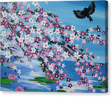 Bird With Cherry Blossom Canvas Print by Cathy Jacobs
