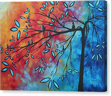 Birds And Blossoms By Madart Canvas Print by Megan Duncanson