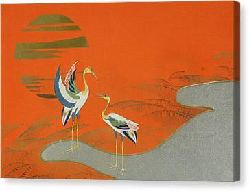 Birds At Sunset On The Lake Canvas Print by Kamisaka Sekka