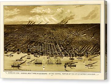 Bird's-eye View Of Detroit 1889 Canvas Print by Mountain Dreams