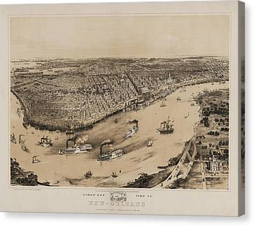 Birds Eye View Of New Orleans 1852 Canvas Print by Digital Reproductions