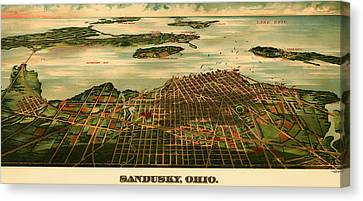 Bird's Eye View Of Sandusky Ohio 1898 Canvas Print by Mountain Dreams