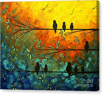 Birds Of A Feather Original Whimsical Painting Canvas Print by Megan Duncanson