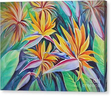 Birds Of Paradise Canvas Print by Summer Celeste