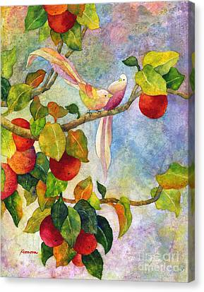 Birds On Apple Tree Canvas Print by Hailey E Herrera