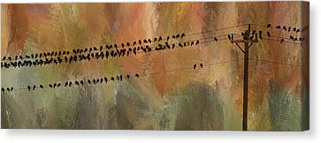 Birds On The Power Lines Canvas Print by James BO  Insogna