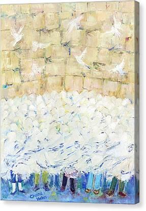 Birkat Hacohanim At The Kotel Canvas Print by Chana Helen Rosenberg