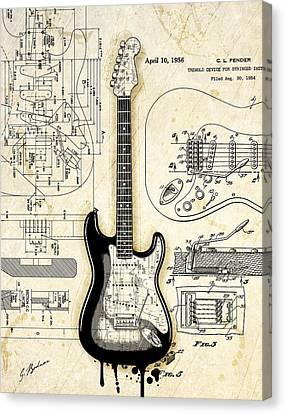 Fender Strat Birth Certificate Canvas Print by Gary Bodnar