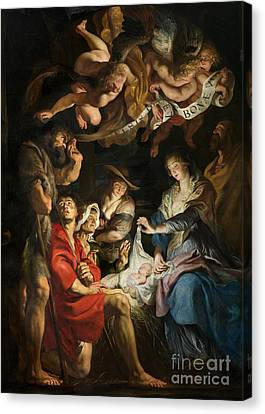Birth Of Christ Adoration Of The Shepherds Canvas Print by Peter Paul Rubens