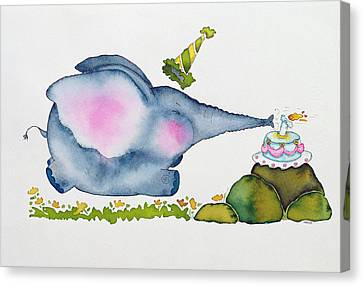 Birthday Elephant Canvas Print by Maylee Christie