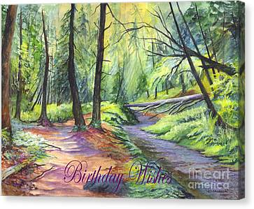 Birthday Wishes-a Woodland Path Canvas Print by Carol Wisniewski