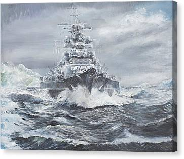 Bismarck Off Greenland Coast  Canvas Print by Vincent Alexander Booth