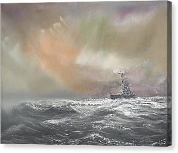 Bismarck Signals Prinz Eugen  Canvas Print by Vincent Alexander Booth