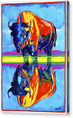 Bison Reflections Canvas Print by Derrick Higgins