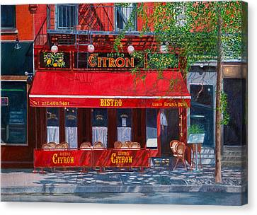 Bistro Citron New York City Canvas Print by Anthony Butera